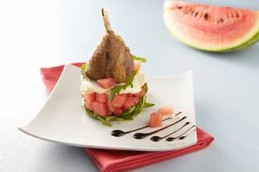 Crisp confit duck leg with a salad of watermelon, rocket and goat's cheese Recipe