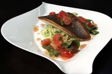 Crisp fillet of sea bream with wilted fennel and sauce vierge