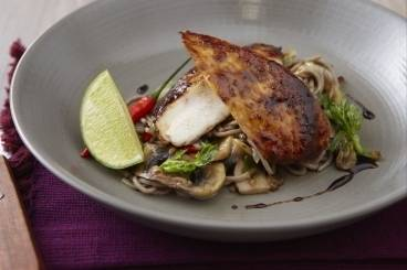Chicken teriyaki with soba noodles, coriander and chilli