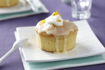 Lemon drizzle cake with creme fraiche