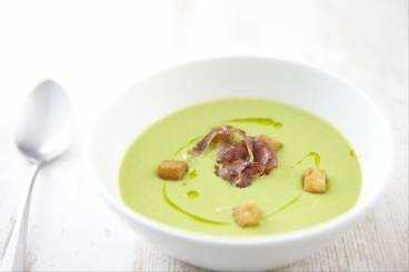 Pea soup with crisp pancetta and garlic croutons