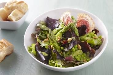 Fresh asparagus, pea and broad bean salad with pancetta and pine nuts