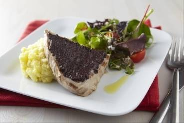 Seared tuna steak with tapenade and aioli crushed potatoes