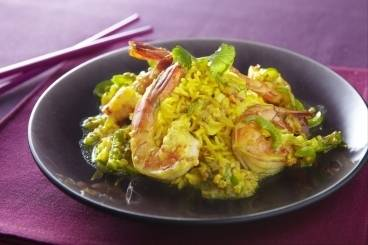 Prawn curry with pilaf rice