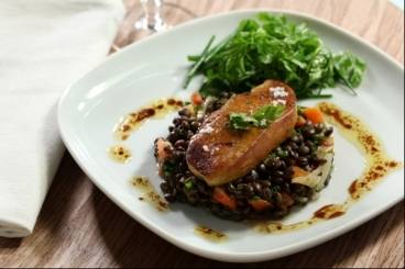 Lentil salad with seared foie gras Recipe