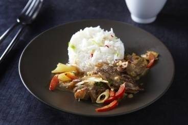 Red duck curry with pineapple and fragrant jasmine rice