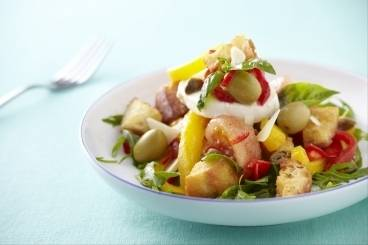 Panzanella salad with buffalo mozzarella