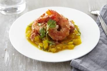 Bengali style prawns with mango and mint chutney