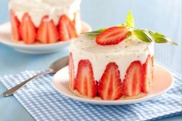 Strawberry, lime and basil fraisier