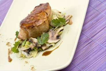 Honey and soy glazed pork with leeks and mushrooms