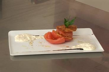 Smoked halibut with goat's cheese, tomato and potato 'millefeuille'