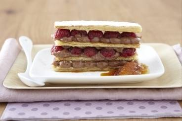 Nutella and raspberry mille feuille with a Grand Marnier glaze