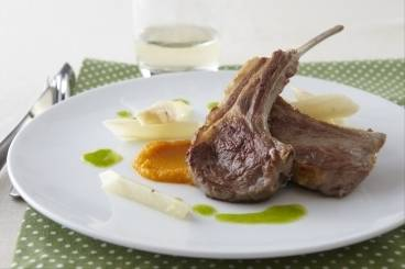 Lamb cutlets with carrot and cumin puree, buttered salsify and parsley oil