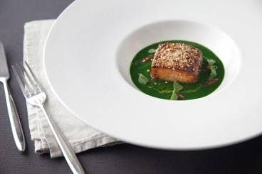 Seared sesame salmon cube, watercress puree, thai basil and chilli oil Recipe