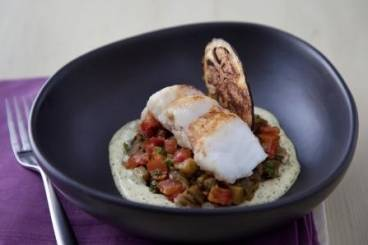 Roasted monkfish tail, curried aubergine, coriander and lime emulsion Recipe