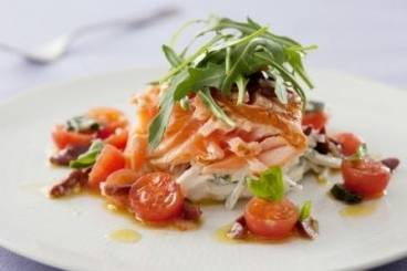 Seared organic salmon fillet with a kohlrabi and fennel slaw and sauce vierge Recipe