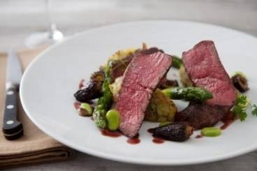 Fillet steak with crushed ratte potatoes, broad beans, asparagus and a morel sauce