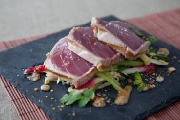 Seared tuna loin with a fennel, radish and cucumber salad and a citrus dressing