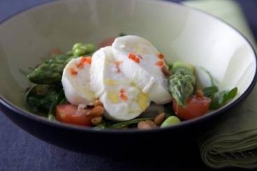 Buffalo mozzarella salad with chilli, rocket, asparagus and basil oil Recipe