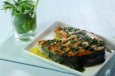 Chargrilled salmon steaks with herb marinade Recipe