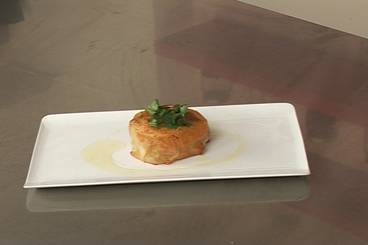 Marinated crab in argan oil served with pastilla of sweet potatoes Recipe