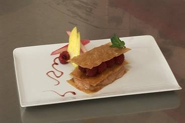 Mille-feuille of rhubarb and fresh raspberries Recipe