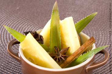 Oven baked pineapple with caramel, rum and spices Recipe