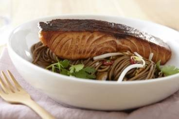 Honey glazed salmon with soba noodles, chilli and lime Recipe
