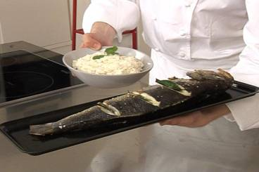 Sea bass with bay leaves and parmesan rice