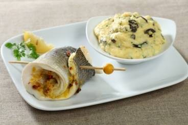Steamed sea bream with polenta Recipe