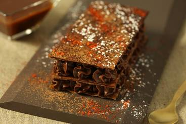 Dark chocolate and chilli mille feuille with a salted butter caramel sauce