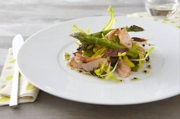 Grilled asparagus, smoked trout, pea shoots and crisp pancetta