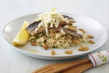 Mackerel with giant cous cous and fennel salad