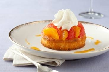 Marinated orange and grapefruit with almond sponge and fromage blanc chantilly Recipe