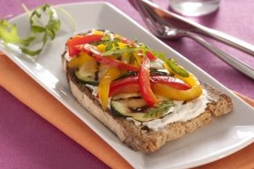Grilled vegetable and cream cheese tartine