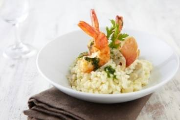Risotto with artichokes and prawns