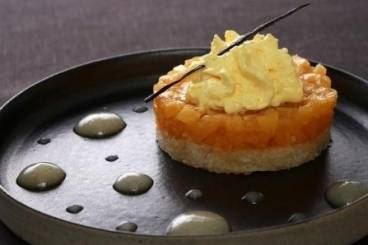 Coconut biscuit with caramelised pineapple and passion fruit emulsion