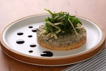 Mushroom and parmesan tartlet with herb salad