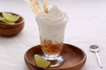 Caramelised banana with pina colada mousse and cinnamon tuiles
