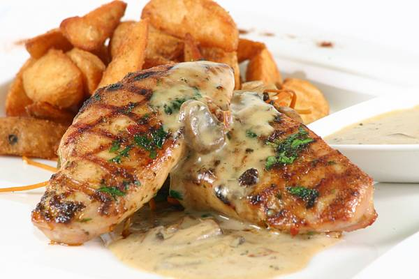 Chicken Paillard, crushed potatoes and mushroom cream
