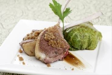 Lamb cutlets with stuffed cabbage leaves