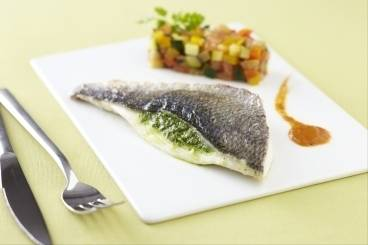Fillet of bream with rocket pesto and summer vegetable ratatouille