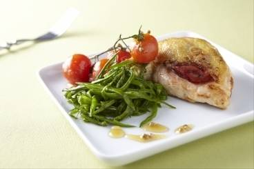 Chicken breast with chorizo, mange tout and sauteed cherry tomatoes