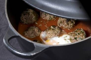 Cumin-spiced kofta tagine with eggs