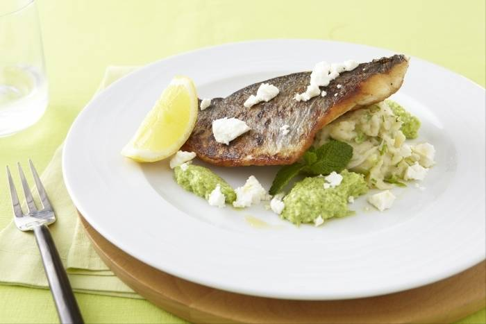 Crisp fillet of sea bream with broad bean, pea and feta pesto Recipe