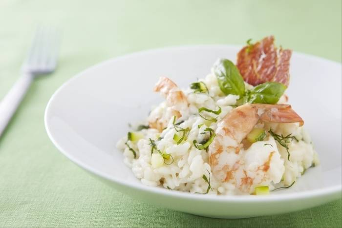 King prawn and courgette risotto with crispy pancetta Recipe