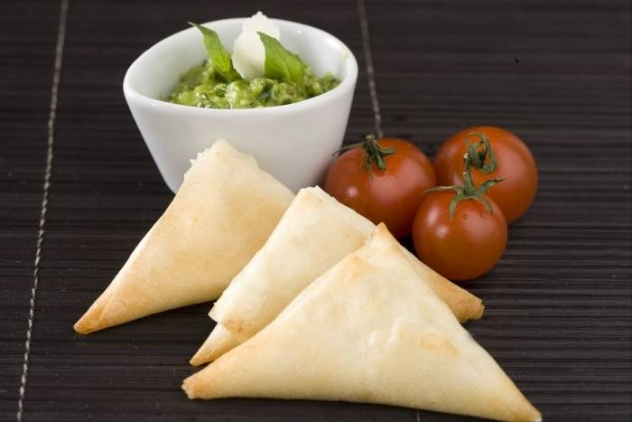 Goat's cheese and sundried tomato samosa with basil pesto Recipe