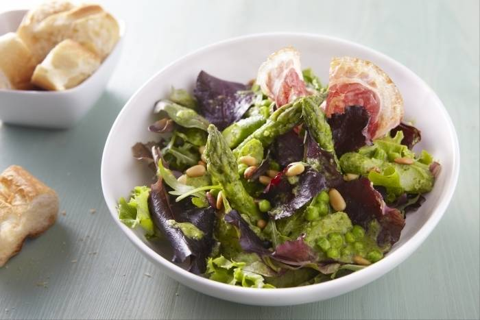 Fresh asparagus, pea and broad bean salad with pancetta and pine nuts Recipe