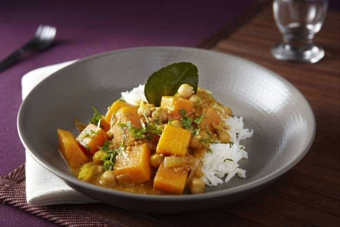Pumpkin and chickpea curry with fragrant basmati rice Recipe