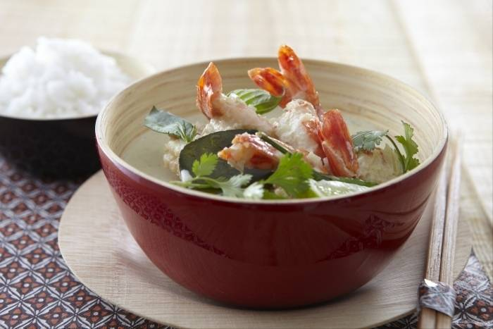 Thai green curry with king prawns and jasmine rice Recipe